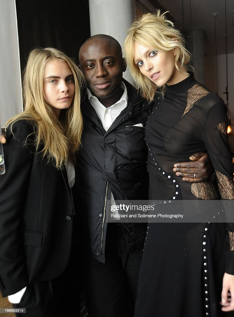 <a gi-track='captionPersonalityLinkClicked' href=/galleries/search?phrase=Cara+Delevingne&family=editorial&specificpeople=5488432 ng-click='$event.stopPropagation()'>Cara Delevingne</a>, Edward Enninful and <a gi-track='captionPersonalityLinkClicked' href=/galleries/search?phrase=Anja+Rubik&family=editorial&specificpeople=4341980 ng-click='$event.stopPropagation()'>Anja Rubik</a> attends the Stefano Tonchi Celebrates W Magazine's Modern Beauty Issue Honoring Tilda Swinton at the Perry Street Restaurant on April 18, 2013 in New York City.