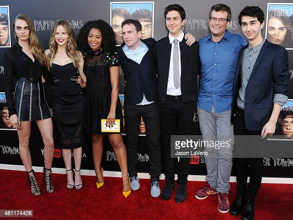Cara Delevingne Halston Sage Jaz Sinclair Jake Schreier Nat Wolff John Green and Alex Wolff attend the 'Paper Towns' QA and live concert at YouTube...