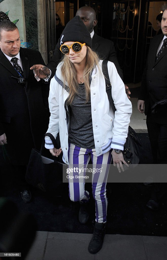 <a gi-track='captionPersonalityLinkClicked' href=/galleries/search?phrase=Cara+Delevingne&family=editorial&specificpeople=5488432 ng-click='$event.stopPropagation()'>Cara Delevingne</a> is pictured departing the Mulberry Catwalk Show during London Fashion Week on February 17, 2013 in London, England.