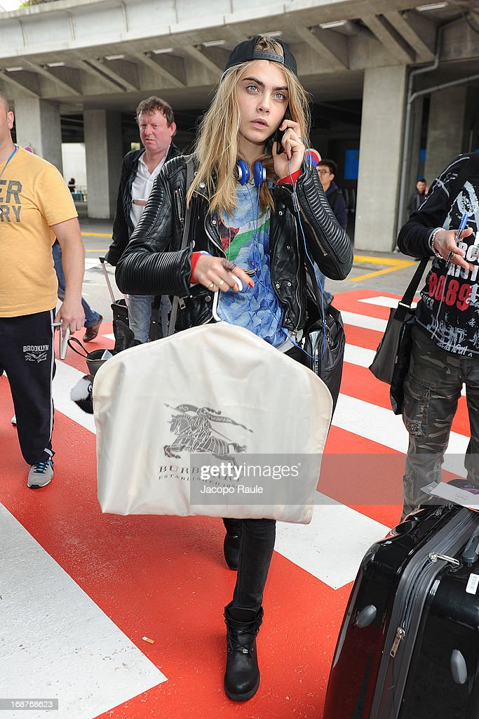 <a gi-track='captionPersonalityLinkClicked' href=/galleries/search?phrase=Cara+Delevingne&family=editorial&specificpeople=5488432 ng-click='$event.stopPropagation()'>Cara Delevingne</a> is seen arriving at Nice airport during The 66th Annual Cannes Film Festival on May 15, 2013 in Nice, France.