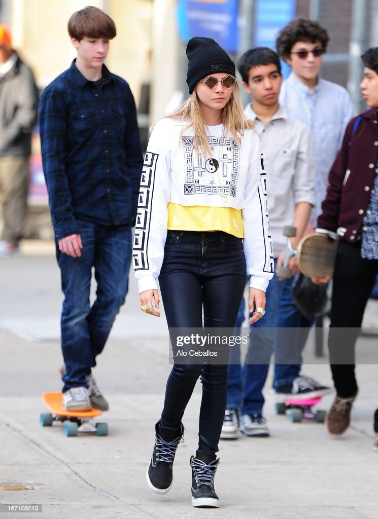 <a gi-track='captionPersonalityLinkClicked' href=/galleries/search?phrase=Cara+Delevingne&family=editorial&specificpeople=5488432 ng-click='$event.stopPropagation()'>Cara Delevingne</a> is seen in the East Village on April 20, 2013 in New York City.