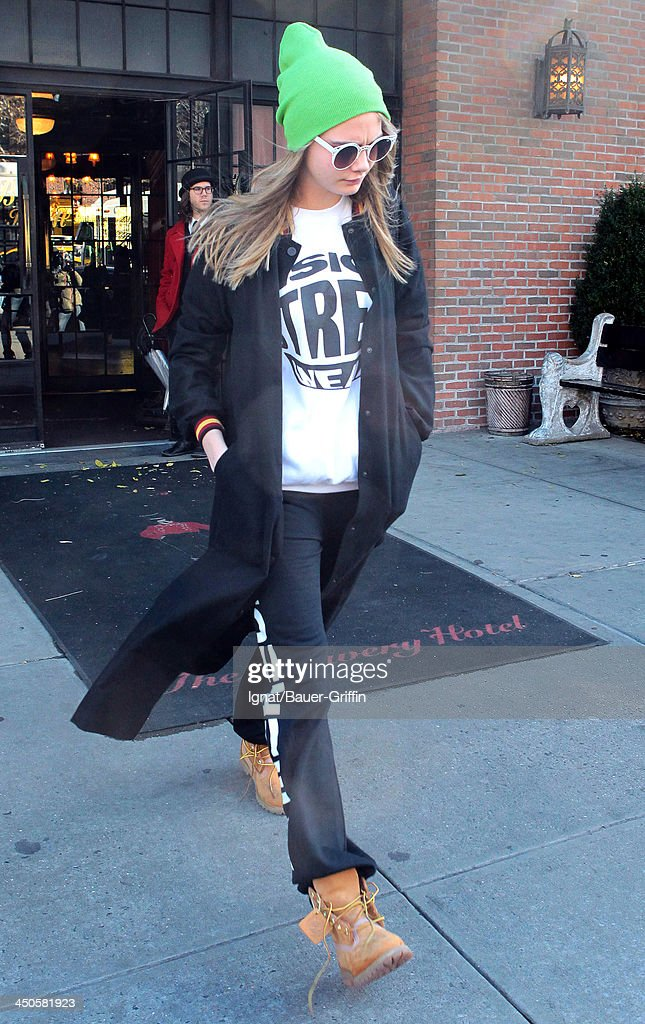 <a gi-track='captionPersonalityLinkClicked' href=/galleries/search?phrase=Cara+Delevingne&family=editorial&specificpeople=5488432 ng-click='$event.stopPropagation()'>Cara Delevingne</a> is seen leaving her hotel on November 19, 2013 in New York City.