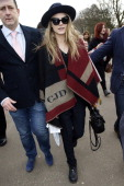 Cara Delevingne is sighted leaving Burberry Prorsum A/W 2014 during London Fashion Week on February 17 2014 in London England
