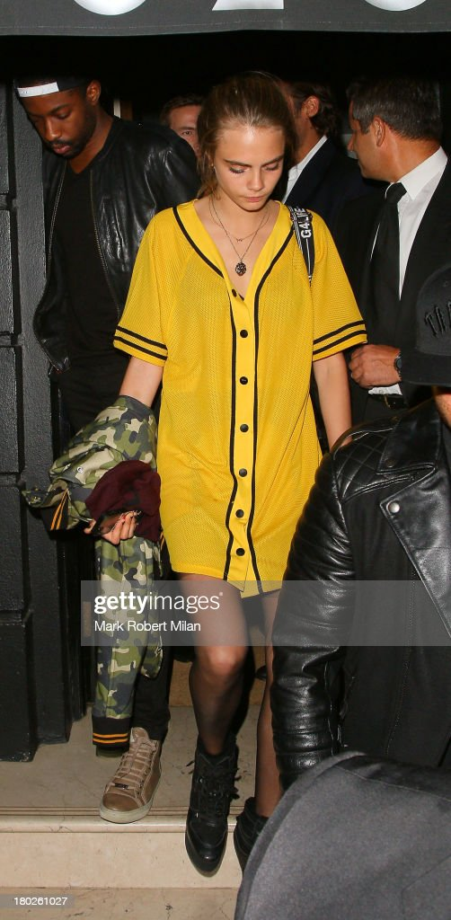 <a gi-track='captionPersonalityLinkClicked' href=/galleries/search?phrase=Cara+Delevingne&family=editorial&specificpeople=5488432 ng-click='$event.stopPropagation()'>Cara Delevingne</a> leaving Nozomi restaurant on September 10, 2013 in London, England.