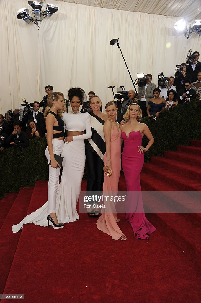 Cara Delevingne, Rihanna, Stella McCartney, Kate Bosworth and Reese Witherspoon attend the 'Charles James: Beyond Fashion' Costume Institute Gala at the Metropolitan Museum of Art on May 5, 2014 in New York City.