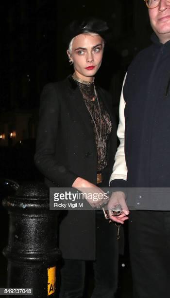 Cara Delevingne seen at Miu Miu X LOVE Magazine party at No 5 Hertford Street during London Fashion Week September 2017 on September 18 2017 in...