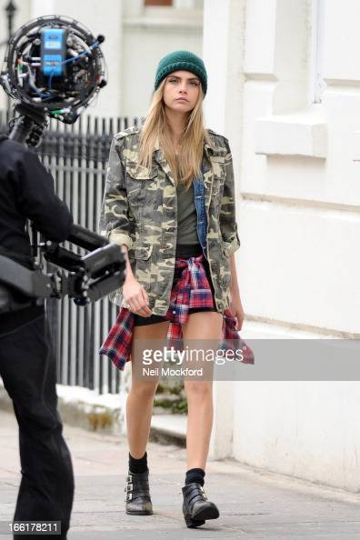 Cara Delevingne seen doing a photoshoot in Notting Hill on April 9 2013 in London England