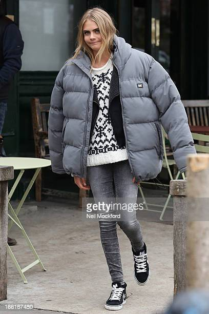Cara Delevingne seen on a PEPE Jeans photoshoot at The Westbourne Pub in Notting hill on April 9 2013 in London England