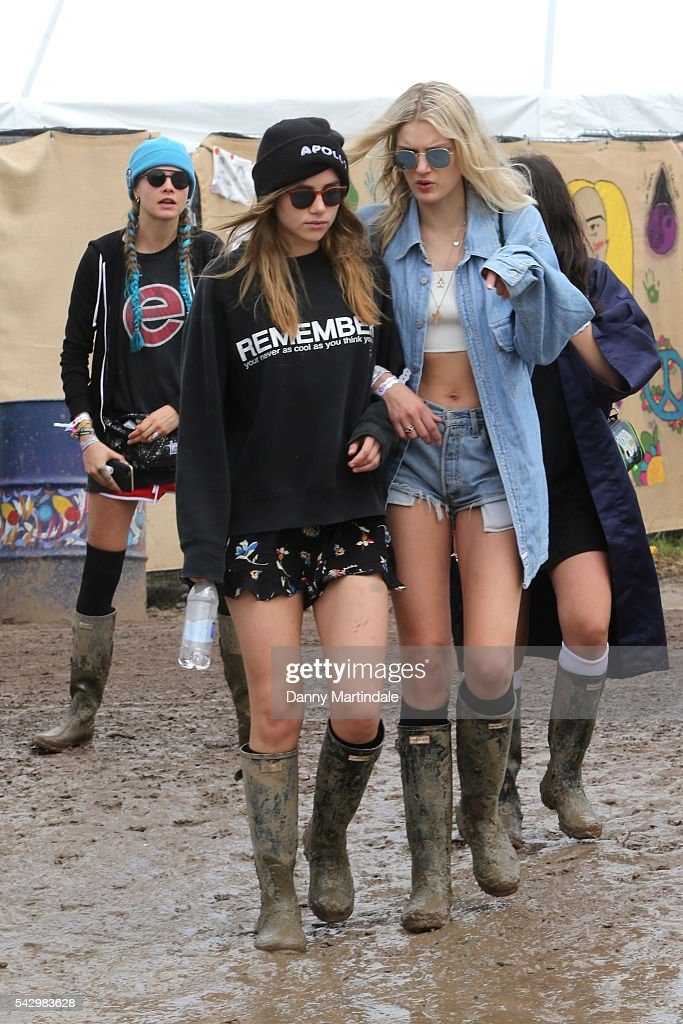 Lily Donaldson and Cara Delevingne attends Day 2 of the Glastonbury Festival 2016 at Worthy Farm, Pilton on June 24, 2016 in Glastonbury, England.