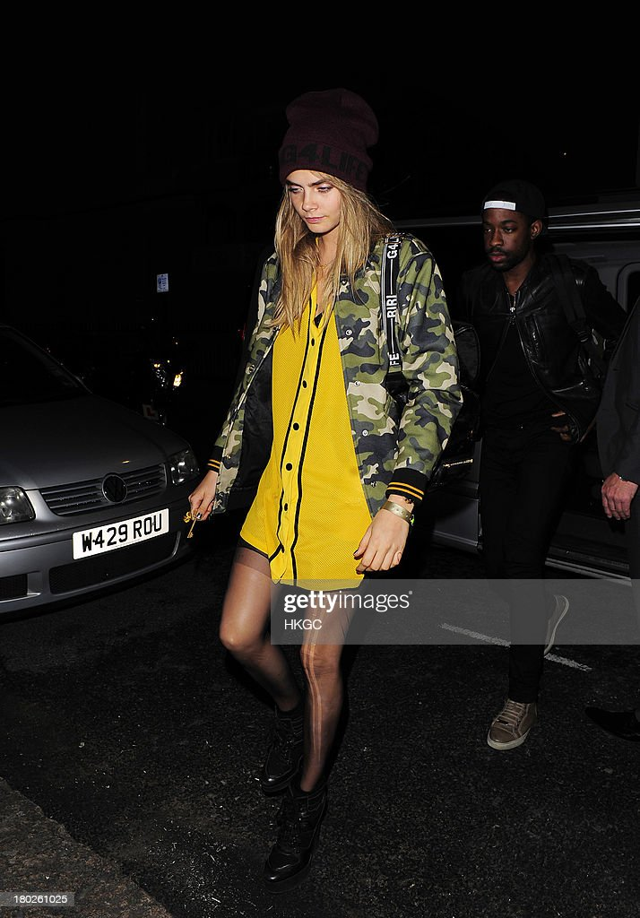 <a gi-track='captionPersonalityLinkClicked' href=/galleries/search?phrase=Cara+Delevingne&family=editorial&specificpeople=5488432 ng-click='$event.stopPropagation()'>Cara Delevingne</a> to have dinner with Rihanna at Nozomi restaurant in Knightsbridge. on September 10, 2013 in London, England.