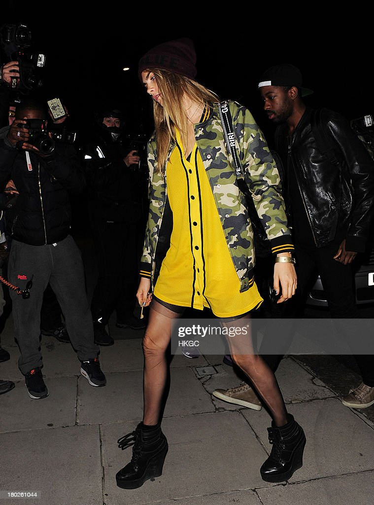 Cara Delevingne to have dinner with Rihanna at Nozomi restaurant in Knightsbridge. on September 10, 2013 in London, England.