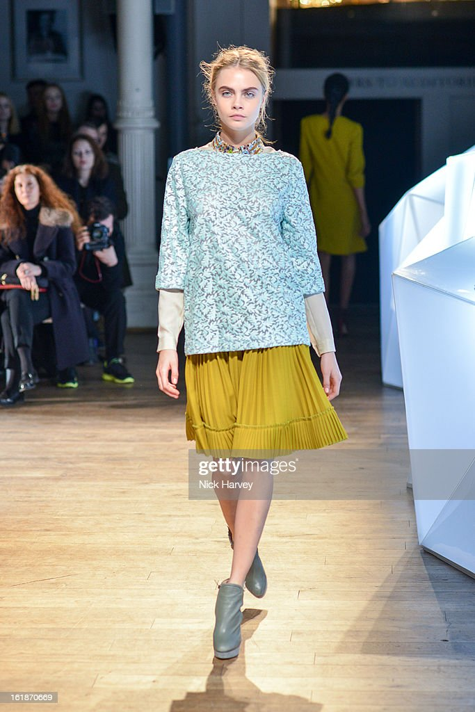 Cara Delevingne walks the runway at the Matthew Williamson show during London Fashion Week Fall/Winter 2013/14 on February 17, 2013 in London, England.