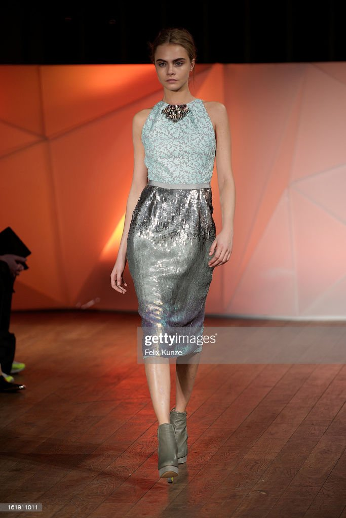 Cara Delevingne walks the runway at the Matthew Williamson show during London Fashion Week Fall/Winter 2013/14 at The Royal Opera House on February 17, 2013 in London, England.