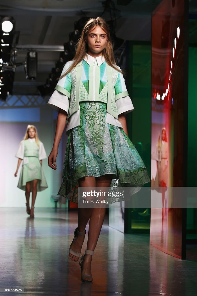 <a gi-track='captionPersonalityLinkClicked' href=/galleries/search?phrase=Cara+Delevingne&family=editorial&specificpeople=5488432 ng-click='$event.stopPropagation()'>Cara Delevingne</a> walks the runway at the Peter Pilotto show during London Fashion Week SS14 at Victoria House on September 16, 2013 in London, England.