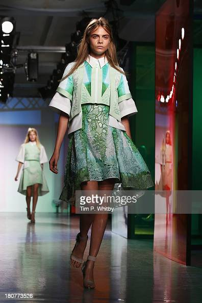 Cara Delevingne walks the runway at the Peter Pilotto show during London Fashion Week SS14 at Victoria House on September 16 2013 in London England