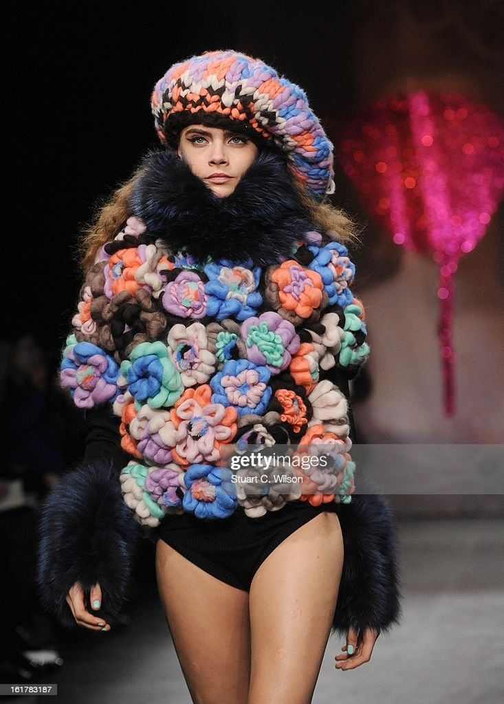 Cara Delevingne walks the Runway at the Sister by Sibling presentation during London Fashion Week Fall/Winter 2013/14 at ICA on February 16, 2013 in London, England.