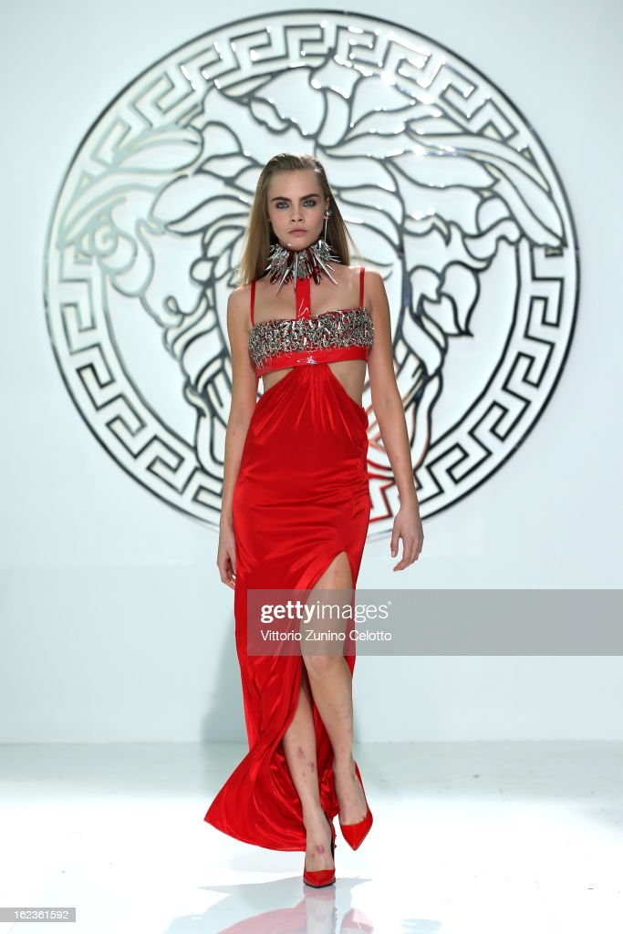 <a gi-track='captionPersonalityLinkClicked' href=/galleries/search?phrase=Cara+Delevingne&family=editorial&specificpeople=5488432 ng-click='$event.stopPropagation()'>Cara Delevingne</a> walks the runway at the Versace fashion show during Milan Fashion Week Womenswear Fall/Winter 2013/14 on February 22, 2013 in Milan, Italy.