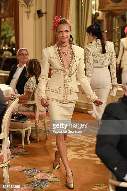 Cara Delevingne walks the runway during 'Chanel Collection des Metiers d'Art 2016/17 Paris Cosmopolite' show on December 6 2016 in Paris France