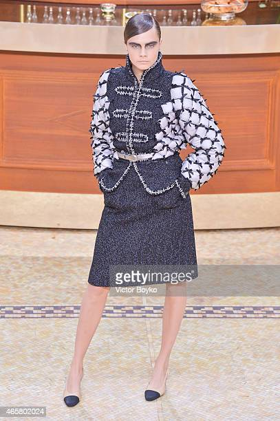 Cara Delevingne walks the runway during the Chanel show as part of the Paris Fashion Week Womenswear Fall/Winter 2015/2016 on March 10 2015 in Paris...