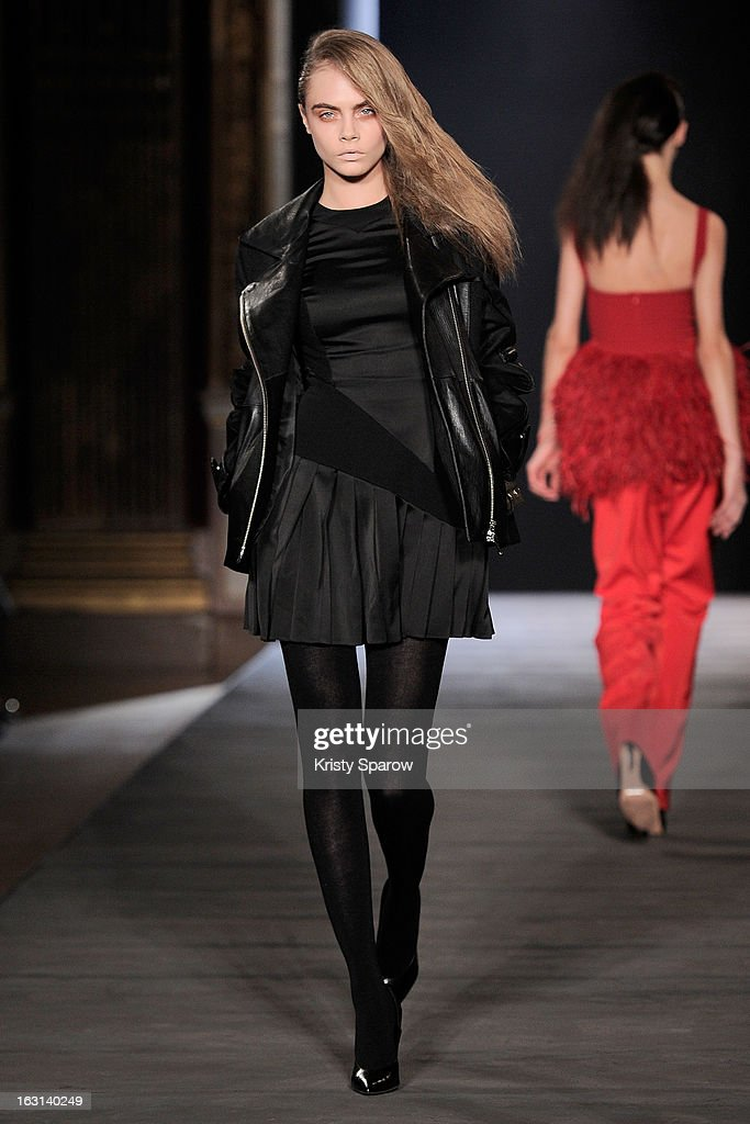 <a gi-track='captionPersonalityLinkClicked' href=/galleries/search?phrase=Cara+Delevingne&family=editorial&specificpeople=5488432 ng-click='$event.stopPropagation()'>Cara Delevingne</a> walks the runway during the Hakaan Fall/Winter 2013/14 Ready-to-Wear show as part of Paris Fashion Week on March 5, 2013 in Paris, France.
