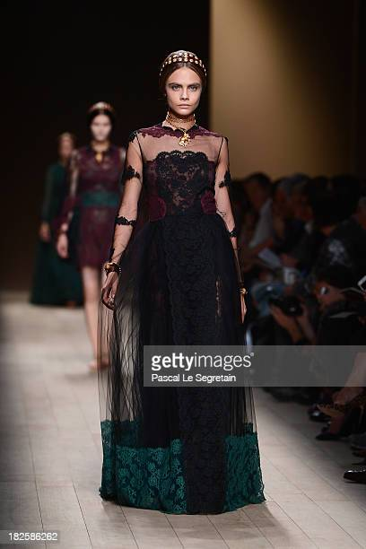 Cara Delevingne walks the runway during Valentino show as part of the Paris Fashion Week Womenswear Spring/Summer 2014 at Espace Ephemere Tuileries...