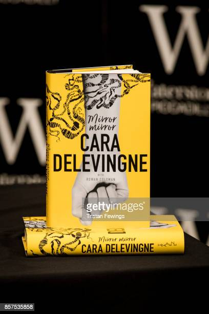 Cara Delevingne's debut Young Adult novel 'Mirror Mirror' on display at her book signing at Waterstones Piccadilly on October 4 2017 in London England