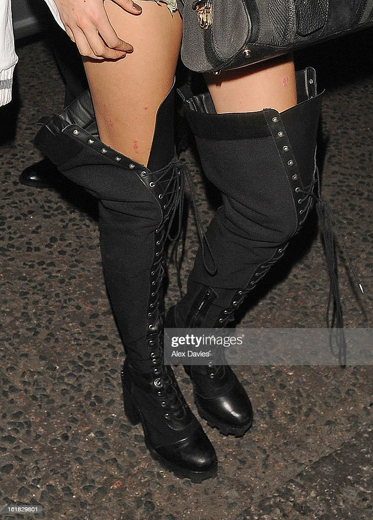 Cara Delevingue (boot detail) sighting as she leaves the Rihanna Fashion job in London . on February 16, 2013 in London, England.