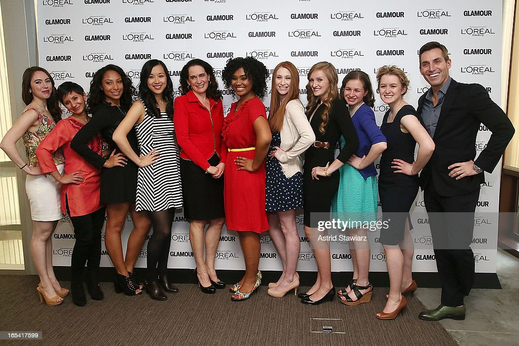 Cara Eckholm, Noorjahan Akbar, Micah Schure, Alice Lee, Debora L. Spar, Otana Jakpor, Katherine Bomkamp, Margaret Gilroy, Simone Bernstein, Grace Young and Bill Wackermann attend the Glamour And L'Oreal Paris Celebration for the Top Ten College Women at The Diana Center At Barnard College on April 3, 2013 in New York City.