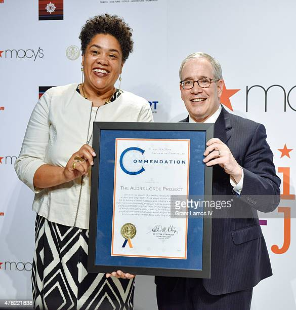 Cara Page Executive Director of the Audre Lorde Project and NYC Comptroller Scott M Stringer attend the 2015 LGBTQ Changemakers Award Ceremony at...