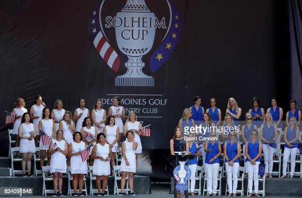 Cara Robinson of England the Golf Channel host announces the teams during the Opening Ceremony for the 2017 Solheim Cup at Des Moines Golf Country...