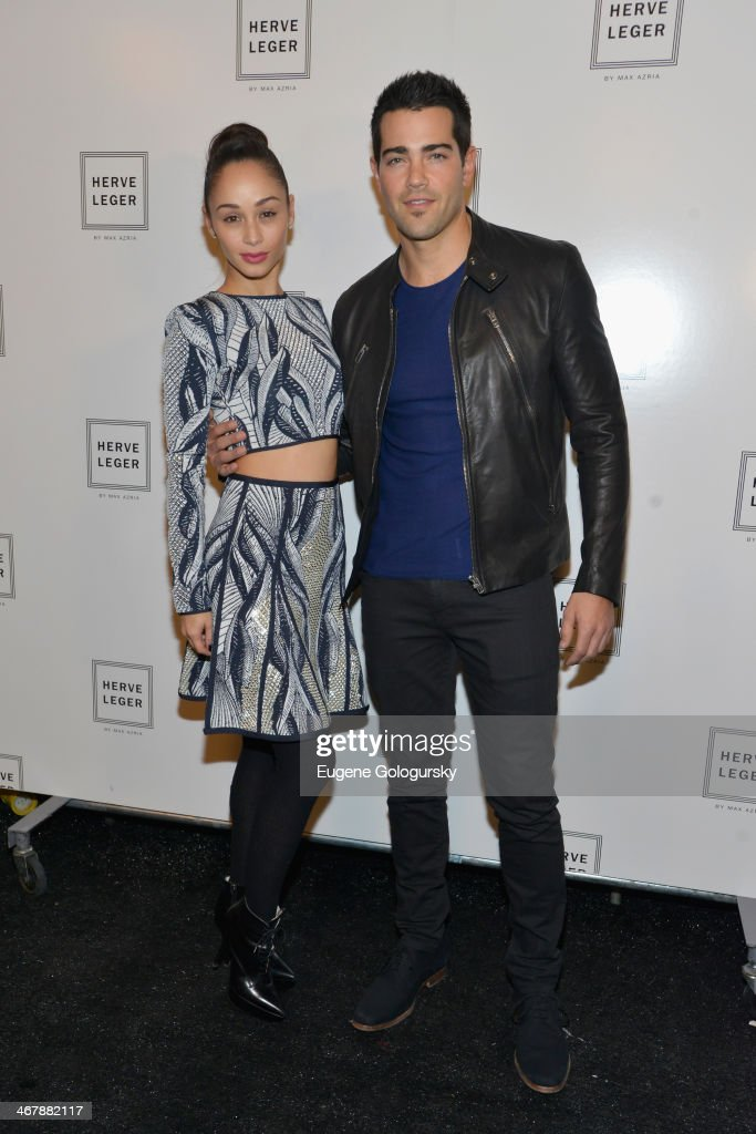 Cara Santana and actor Jesse Metcalfe pose backstage at the Herve Leger By Max Azria fashion show during MercedesBenz Fashion Week Fall 2014 at The...
