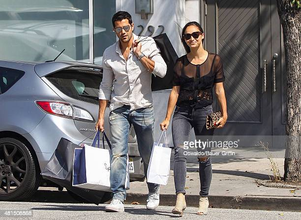 Cara Santana and Jesse Metcalfe are seen shopping in Beverly Hills on July 21 2015 in Los Angeles California