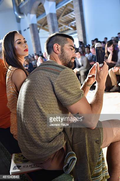 Cara Santana and Jesse Metcalfe attend the Misson show during Milan Menswear Fashion Week Spring Summer 2015 on June 22 2014 in Milan Italy