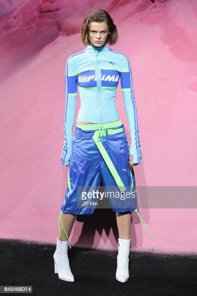 Cara Taylor walks the runway wearing Look 52 at the FENTY PUMA by Rihanna Spring/Summer 2018 Collection at Park Avenue Armory on September 10 2017 in...