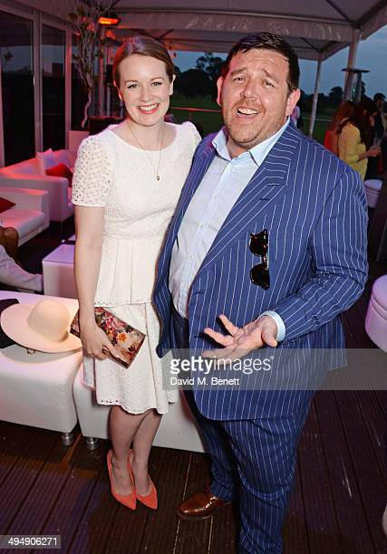 Cara Theobold and Nick Frost attend day one of the Audi Polo Challenge at Coworth Park Polo Club on May 31 2014 in Ascot England