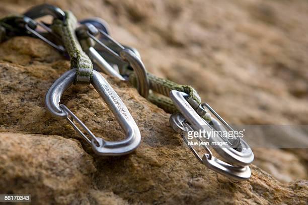 Carabineers used in rock climbing