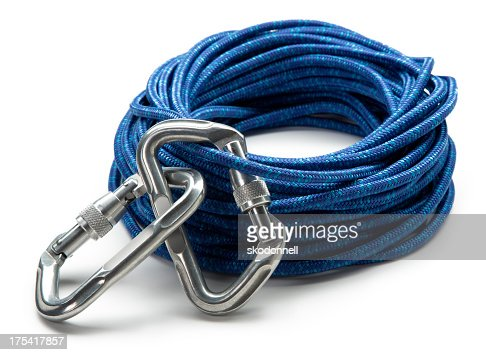 Carabiner Clip and Climbing Rope Isolated on White