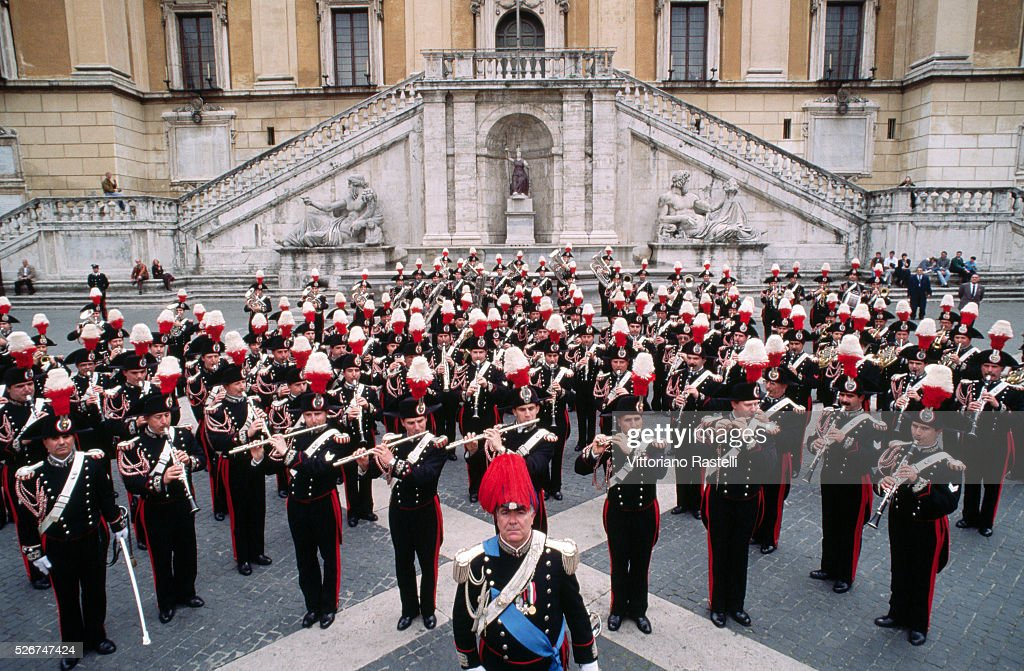 A carabiniere band play in the Piazza del Campidoglio in Rome. | Location: Capitoline Hill, Rome, Italy.