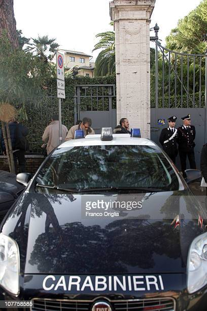 Carabiniere stand in front of the Swiss Embassy after a parcel bomb exploded this morning on December 23 2010 in Rome Italy A 53yearold Swiss...