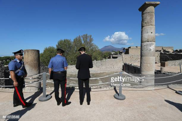 Carabinieri italiano police men in the sailors's house one of the new environments restored in the archaeological excavations of Pompeii Behind the...