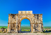 Caracalla Triumphal Arch at Volubilis, a UNESCO world heritage site in Morocco