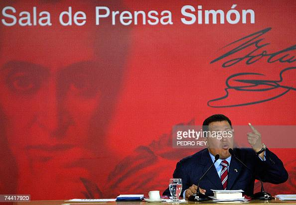 Venezuelan President Hugo Chavez gives a press conference in Caracas 06 June 2007 Chavez said that OAS General Assembly in Panama 'was a big defeat...