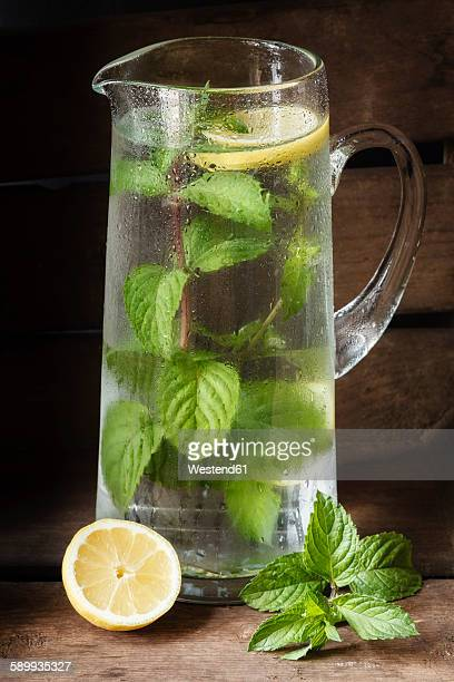 Carafe with water, mint and lemon flavored