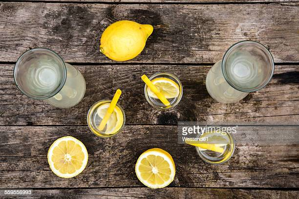 Carafes and glasses of homemade lemonade