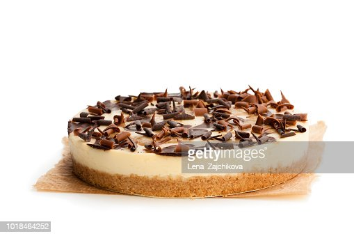 Caramel  cheesecake with chocolate flakes isolated on white : Stock Photo