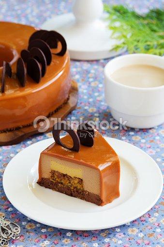 Caramel coffee cake in the mirror glaze stock photo for Glacage miroir caramel