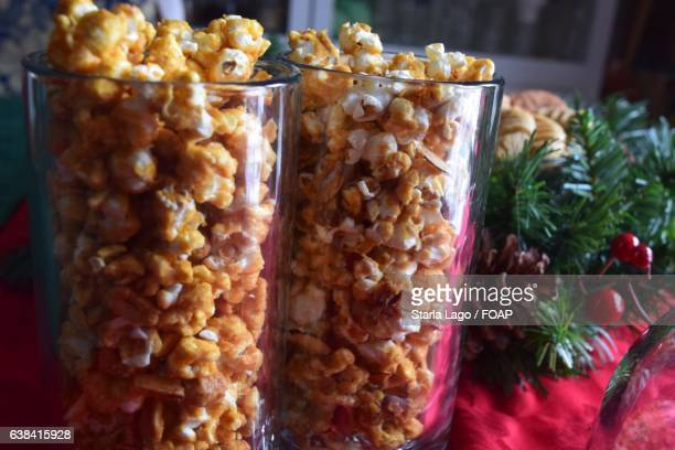 Caramel corn and christmas decorations