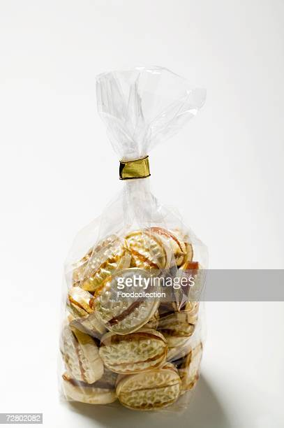 Caramel sweets in cellophane bag