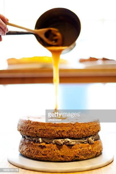 Garniture au Caramel au chocolat sur un régale
