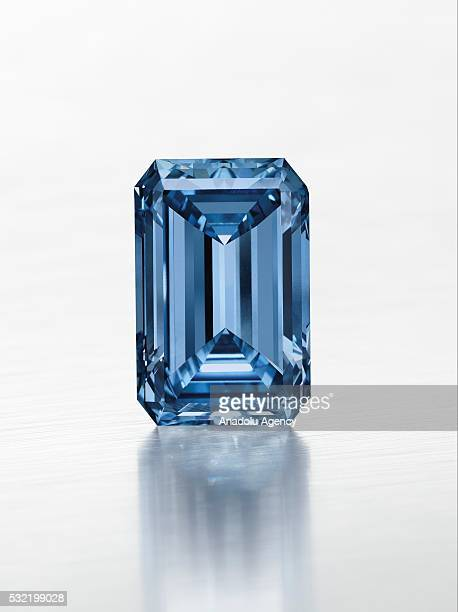 1462 carats Oppenheimer vivid blue diamond one of the world's rarest diamonds is shown at the auction and sold for $575 million as it became world's...